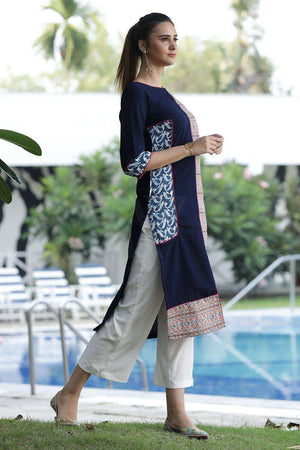 Blue Kurta With Prints