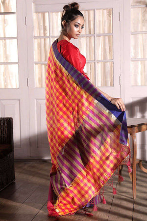 Check Banarasi Cotton Saree