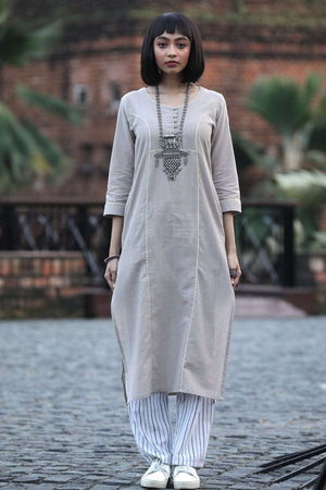 Smoky Grey Handwoven Cotton Kurta