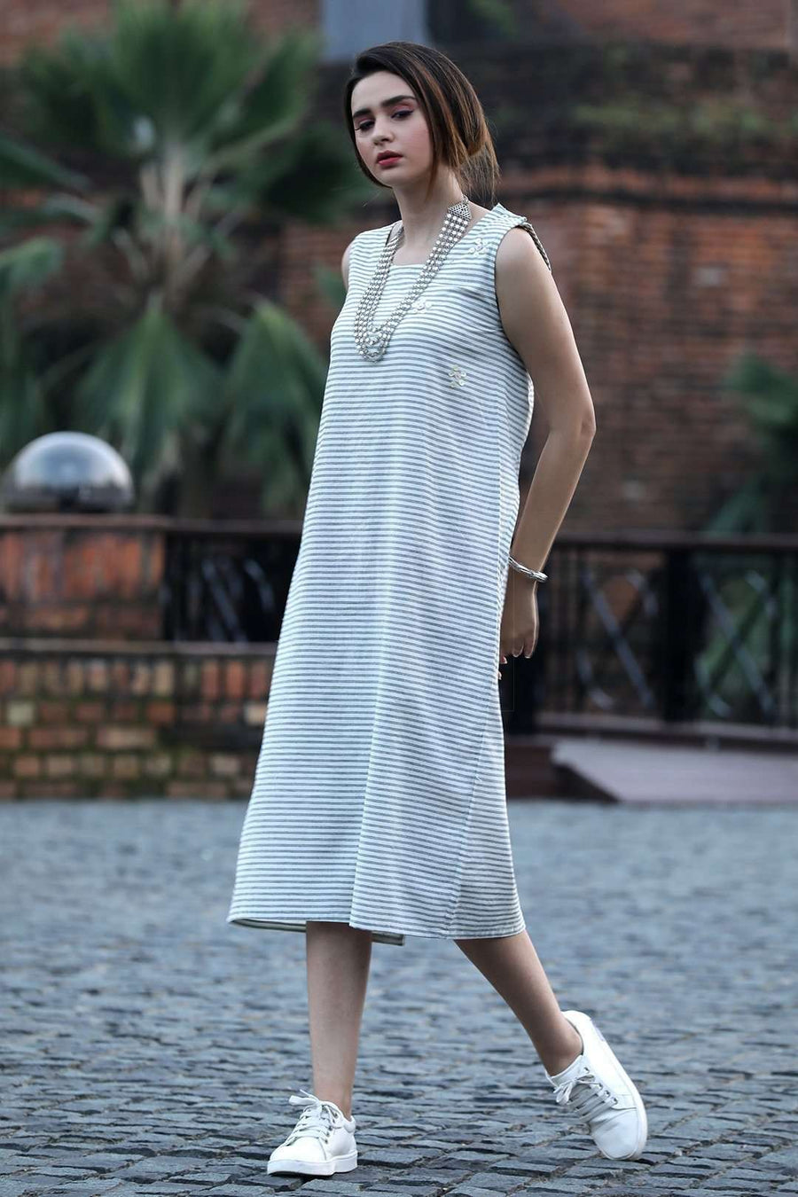 White Striped Handwoven Cotton Kurta