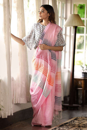 Baby Pink Linen Saree With Striped Design Earthen Collection Roopkatha - A Story of Art
