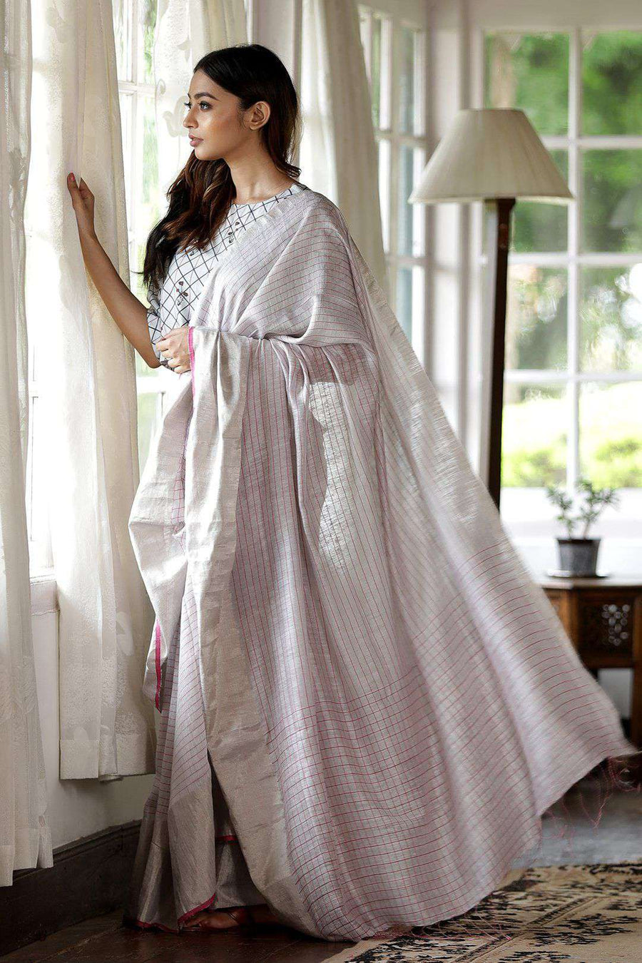 White Matka Silk Saree With Check Design Kriti Classics Roopkatha - A Story of Art