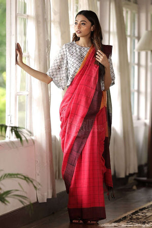 Red Pure Cotton Saree With Check Cotton Threads Of India Roopkatha - A Story of Art