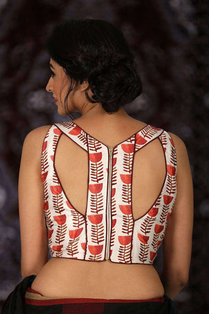 Printed Modal Satin Blouse Blouse Roopkatha - A Story of Art