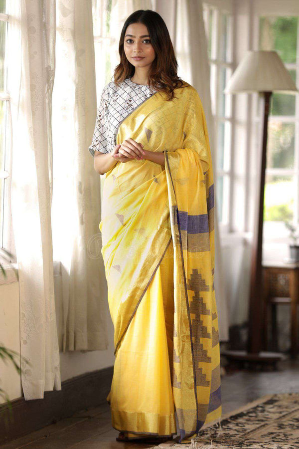 Yellow Cotton Saree With Woven Pallu