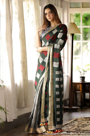 Green Linen Saree With Pompom Design Earthen Collection Roopkatha - A Story of Art