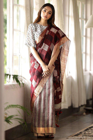Brown Linen Saree With Pompom Design