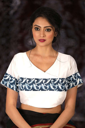 White Chanderi Silk Blouse
