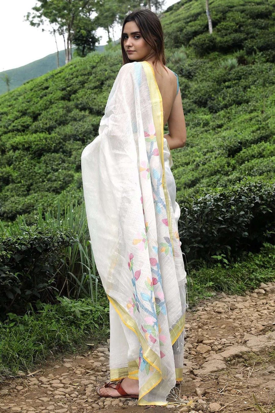 White Linen Saree With Floral Weave Earthen Collection Roopkatha - A Story of Art