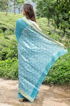 Blue Linen Silk Saree With Zari Earthen Collection Roopkatha - A Story of Art
