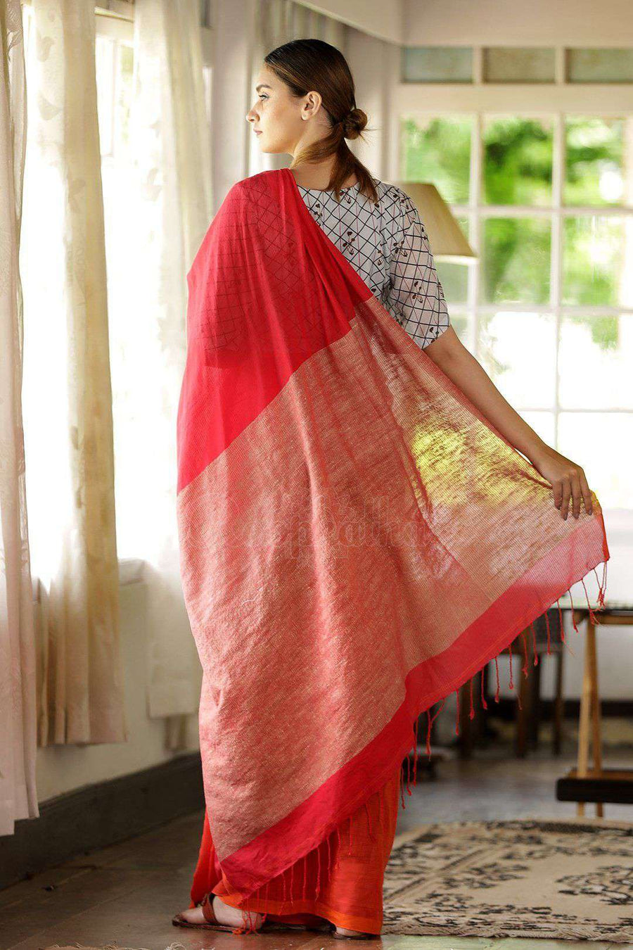 Orange Cotton Saree With Ghicha Pallu Cotton Threads Of India Roopkatha - A Story of Art