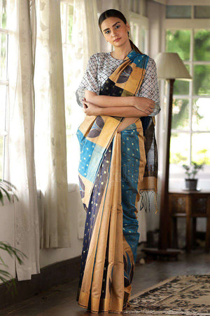 Blended Cotton Saree With Woven Design