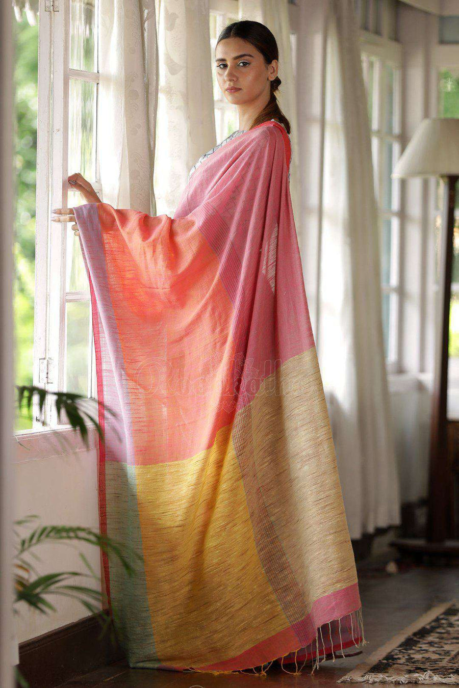 Organic Cotton saree With Plain Border