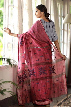 Linen Silk Saree With Hand Block Prints Earthen Collection Roopkatha - A Story of Art