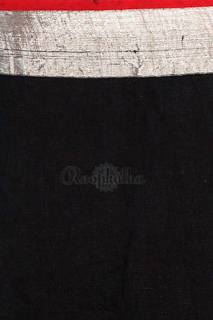 Black Linen Saree With Check Box Pallu Earthen Collection Roopkatha - A Story of Art