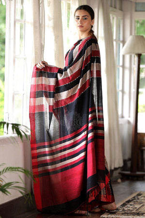 Striped Cotton Saree With Thread Work