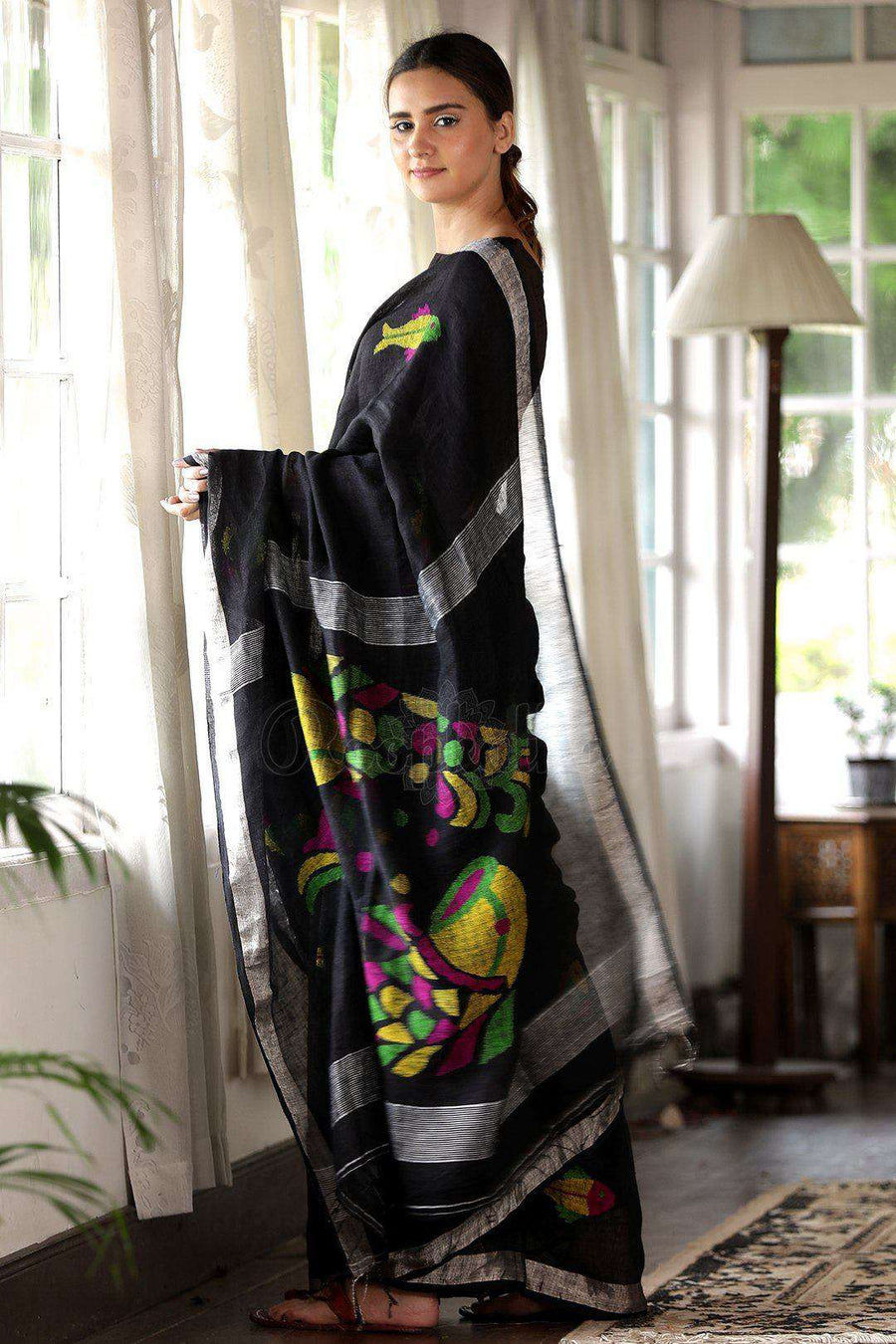 Black Linen Saree With Fish Motif Earthen Collection Roopkatha - A Story of Art