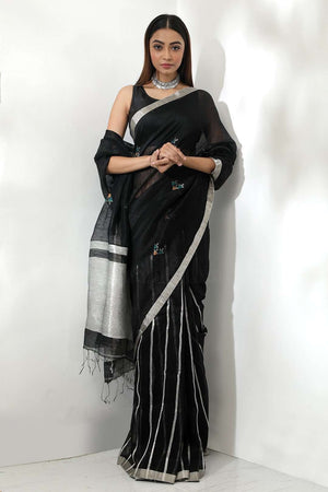 Black Linen Zari Saree With Striped Design Earthen Collection Roopkatha - A Story of Art
