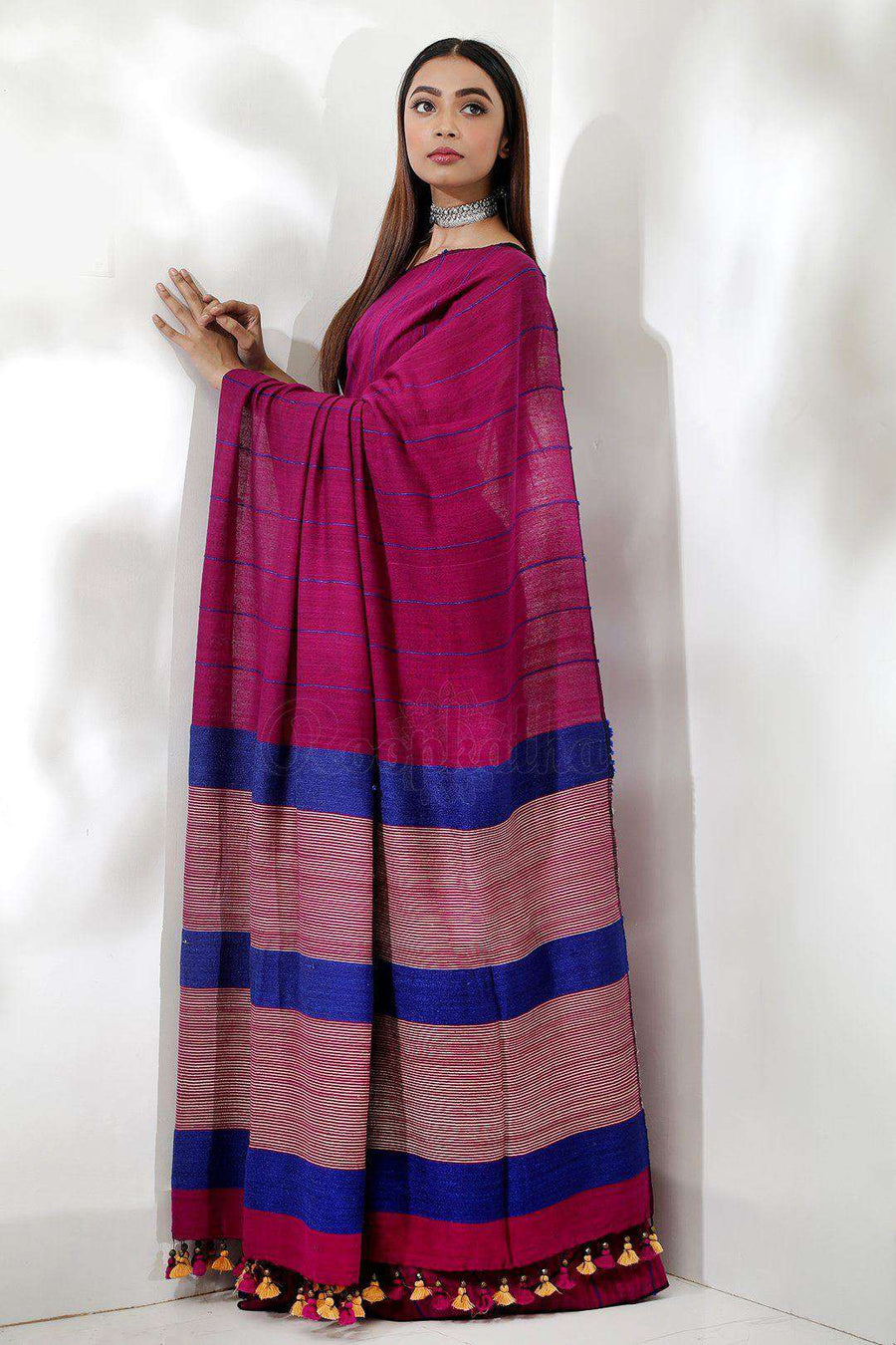 Dark Pink Resham Noil Saree With Ghicha