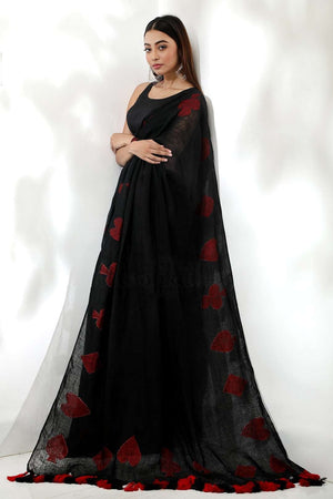 Black Organic Linen Saree With Jamdani Work