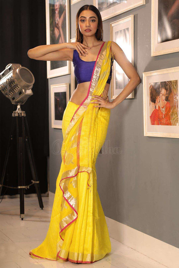 Bright Yellow Matka Silk Saree With Zari