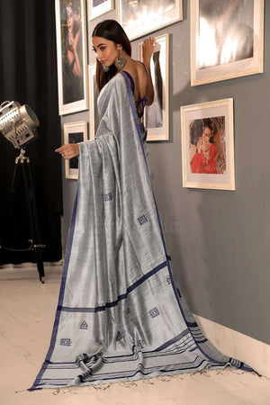 Grey Matka Silk Saree With Woven Design