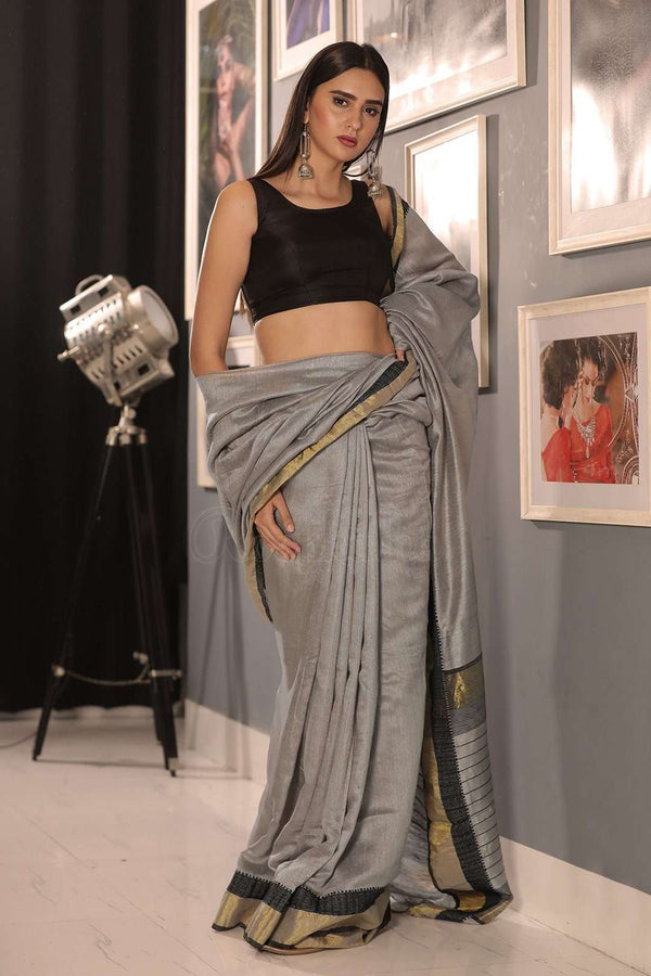 Grey Matka Silk Saree With Zari Kriti Classics Roopkatha - A Story of Art