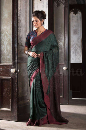 Green Ghicha Saree With Plain Border