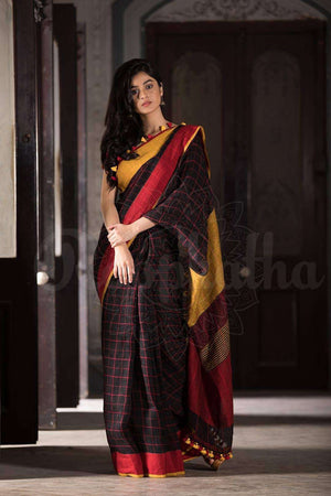 Black Check Organic Linen Saree With Dual Tone Border Earthen Collection Roopkatha - A Story of Art