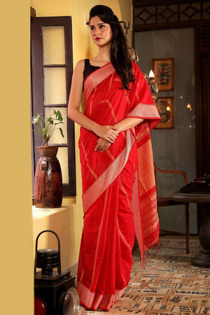 Red Pure Cotton Saree With Woven Design Cotton Threads Of India Roopkatha - A Story of Art
