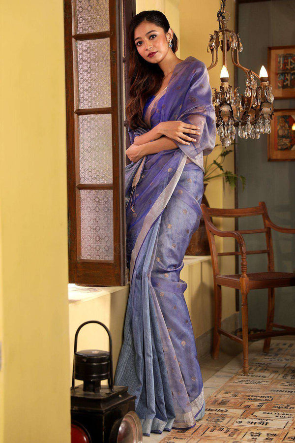 Pale Blue Matka Silk Saree With Zari