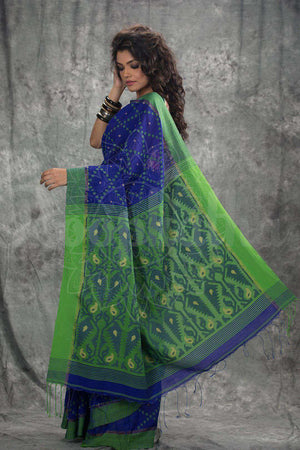 Blue Blended Cotton Handloom Saree With Woven Pallu