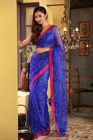 Royal Blue Muslin Saree With Shell Work