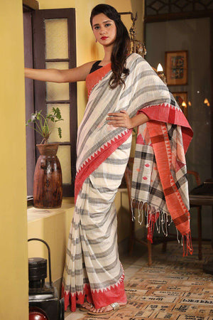 White Pure Cotton Saree With Red Border