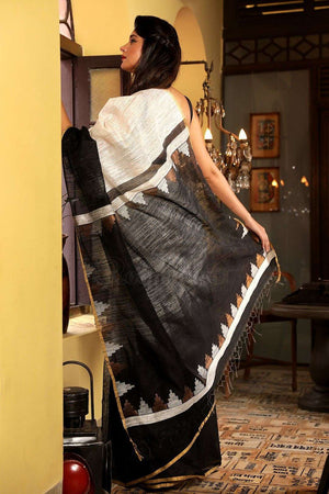 White Matka Silk Saree With Black Border Kriti Classics Roopkatha - A Story of Art