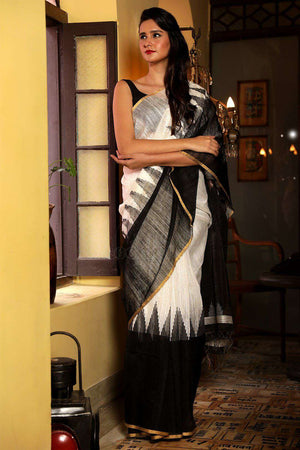 White Matka Silk Saree With Black Border