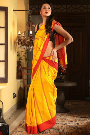 Yellow Begampuri Cotton Saree With Red Border Cotton Threads Of India Roopkatha - A Story of Art