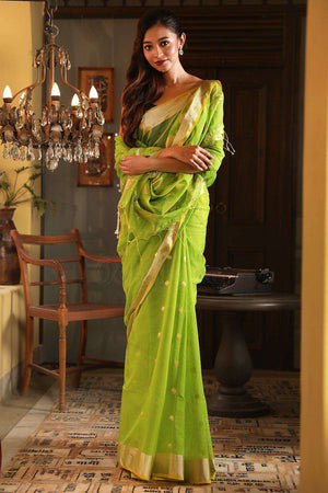 Green Blended Cotton Saree With Zari Work