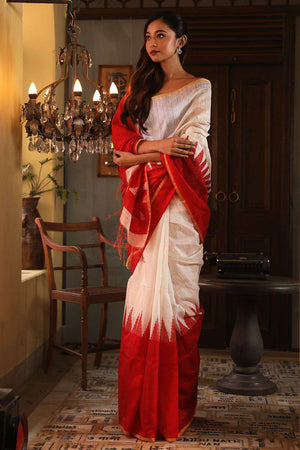 White Matka Silk Saree With Red Border