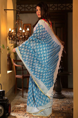 White Blended Cotton Saree With Prints Akasha Roopkatha - A Story of Art
