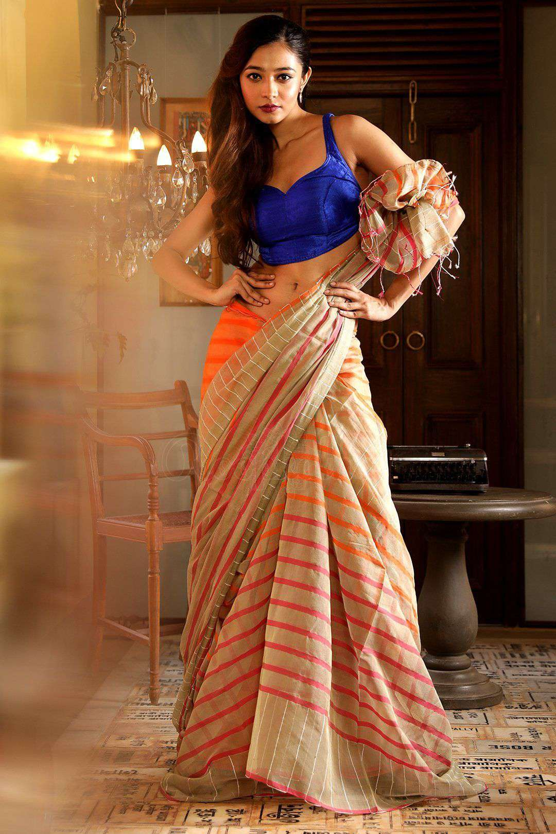 BEIGE & ORANGE BLENDED COTTON SAREE WITH STRIPES