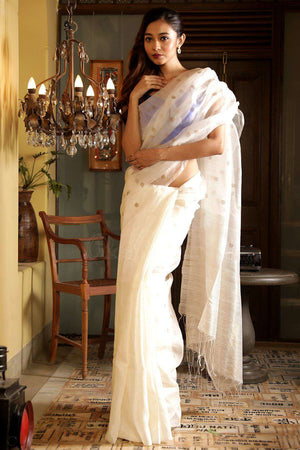 White Matka Silk Saree With Zari Work