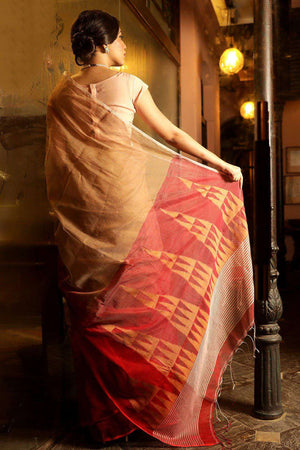 Beige Blended Cotton Saree With Red Temple Border