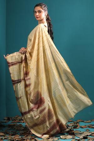 Gold Tone Blended Kota Saree With Burgundy Highlights & Stripes
