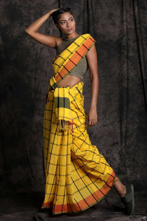Yellow Cotton Saree With Check Design