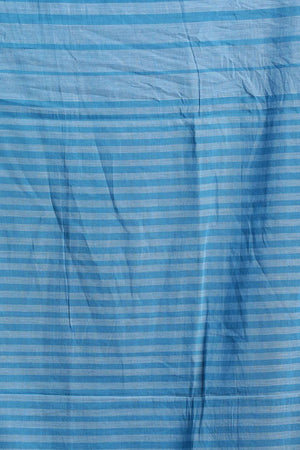 Light Blue Cotton Saree With Check Design