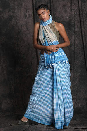 Light Blue Cotton Saree With Check Design Cotton Threads Of India Roopkatha - A Story of Art