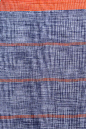 Bright Blue Linen Cotton Saree With Check Design