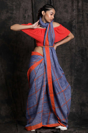 Bright Blue Linen Cotton Saree With Check Design Cotton Threads Of India Roopkatha - A Story of Art