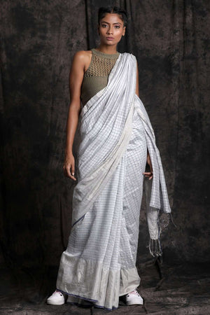 White Matka Silk Saree With Checkered Design Kriti Classics Roopkatha - A Story of Art